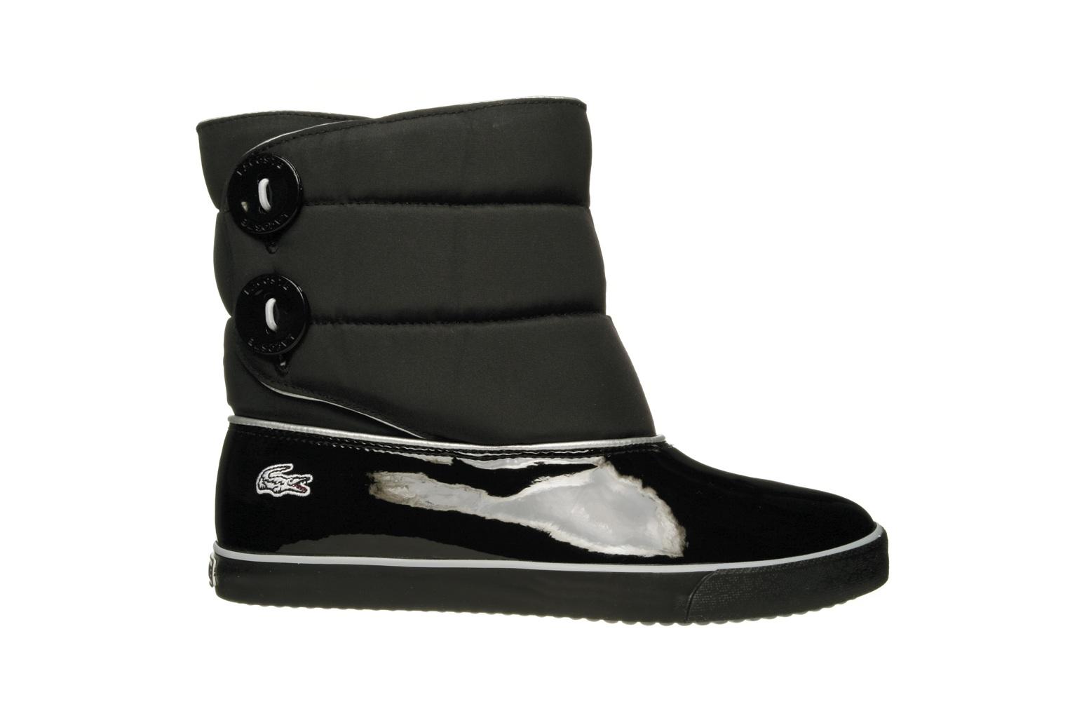 Unique Lacoste Aubina Womens Slip On Textile Wedge Snow Boots Shoes Black